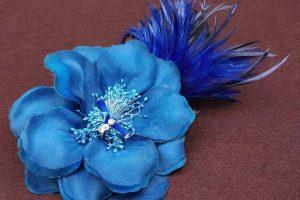 晚裝頭飾 - 絲花羽毛寶藍色晚裝頭飾 (UA002005) Head Accessories - Silk flower and feather head piece in royal blue