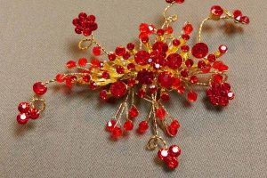頭飾 - 仿紅寶石中式頭飾 (UA003010) Head Accessories - Red rhinestone Chinese-style head piece