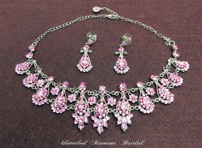 首飾 - 淡玫瑰紅仿寶石頸鏈及耳環 (UA004002) Accessories - Light Rose Rhinestone Necklace and Earrings