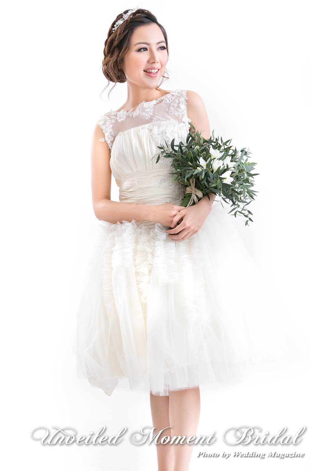 短裙款無袖透視花邊輕婚紗 Sleeveless, organza short skirt wedding dress