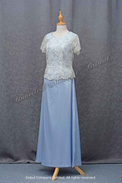 Light Blue Mother-of-Bride Dress with short sleeves 粉藍色短袖媽咪晚裝裙