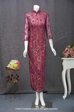 Burgundy, 3/4 sleeves, high-collar, side slits, beaded lace Mother-of-Bride Qipao 中袖, 蕾絲釘珠, 企領, 媽咪旗袍