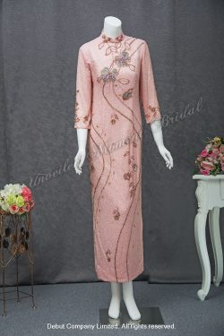 3/4 sleeves, high collar, side-slits, Pink Mother-of-the-Bride QiPao 中袖釘珠粉紅色媽咪旗袍
