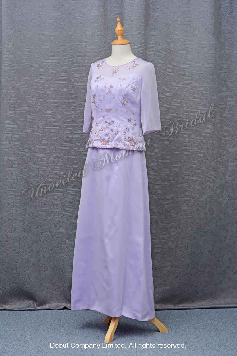Light Purple Mother-of-Bride Dress with lone sleeves 淺紫色長袖媽咪晚裝裙