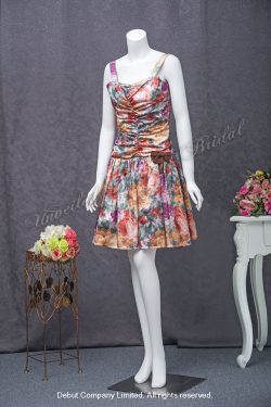 Short Party Dress with Floral-Printed 短款宴會晚裝裙