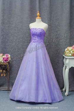 Strapless tulle evening gown with an embellished bodice 無肩帶 low-cut, 閃片紫色晚裝傘裙