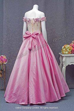 Pink Off-the-shoulder Evening Dress 粉紅色, 立体花飾, 一字膊晚裝