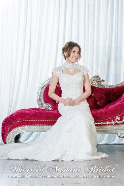 企領, 肩膊袖, 手工釘珠飾, 拖尾喇叭款婚紗 High collar, Cap-sleeved, trumpet lace wedding dress with jeweled embellishments, keyhole open back and a court train