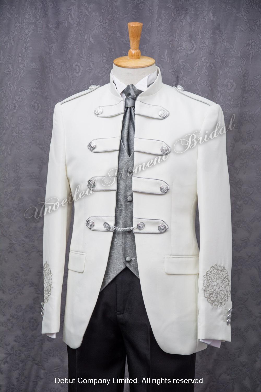 歐式領呔, 銀色馬甲背心, 白色仿海軍官新郎禮服 White tuxedo matched with silver waistcoat and bow
