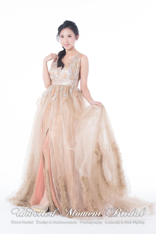 Deep V halter neckline, low-back, high-cut, Gold evening dress 大V字領口, 高叉, 大露背, 拖尾, 金色晩裝