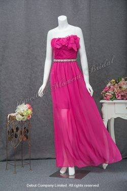 Strapless, short skirt with see-through veil party dress. Colour: Peach 無袖low-cut, 立体花飾, 桃紅色短款透視長紗晩宴裙