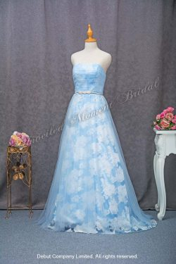 Strapless party dress with floral printed. Colour: Baby blue 無袖low-cut, 花花圖案, 粉藍色晩宴花裙