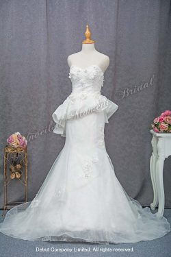 Sweet-heart Neckline, strapless, low-cut, tube dress, beaded bodice, short skirt, sweep train, mermaid Wedding Gown 心形胸, 無袖, 蕾絲釘珠, 顯瘦短裙, 拖尾, 魚尾婚紗