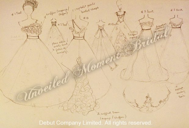 Pencil sketches of gown design from our designer 設計師的婚紗設計草圖