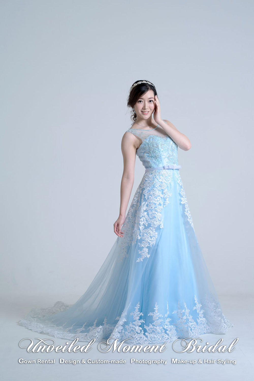 Lace applique embellishments, See-through sweetheart neckline, Baby blue A-line Evening Dress 蕾絲釘珠, 透視圓領, 心形胸, 粉藍色A-line晚裝