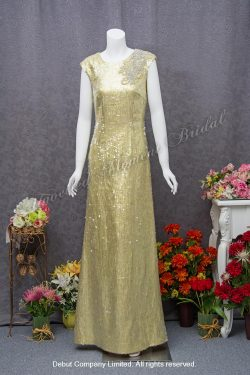 Cap sleeved, pleated bodice, evening dress for mother-of-the bride. Colour: Gold. 圓領, 雞翼袖, 閃石閃片釘珠, 金色媽咪衫晩裝裙