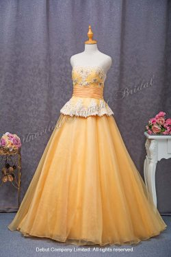 Strapless evening ball gown with an embellished lace bodice and an accentuated waistband. Colour: Orange. 無袖, 蕾絲釘珠, 蝴蝶結腰帶, 橙色傘裙晩裝