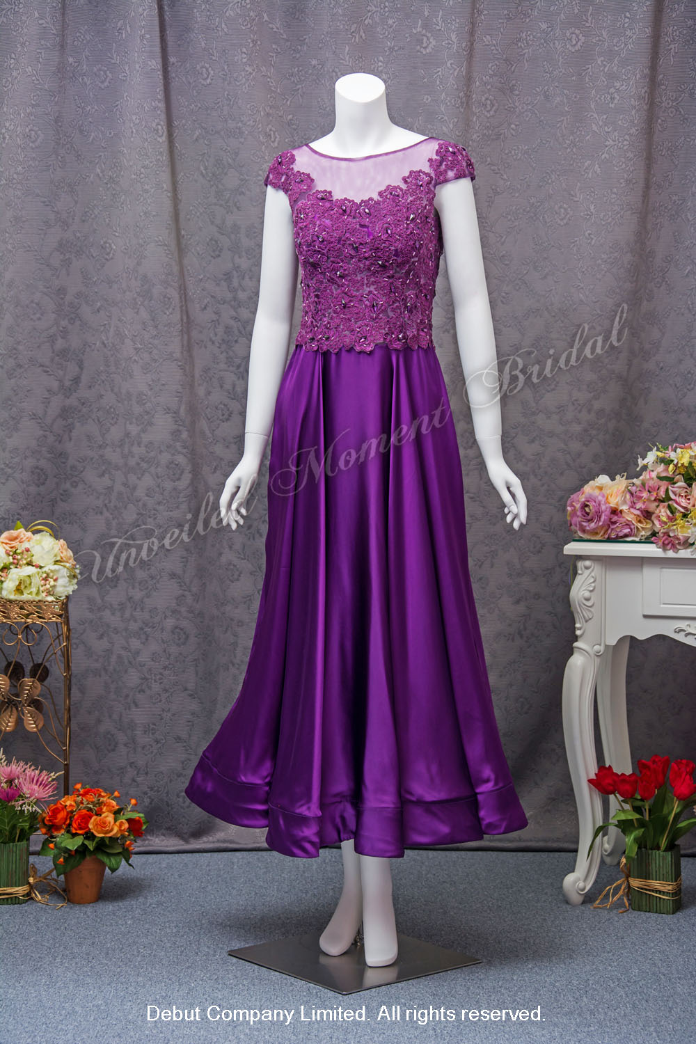 Purple Mother-of-Bride Party Dress with lace embellishment 紫色, 蕾絲釘珠, 媽咪晚裝裙