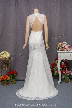 Deep-V neckline, Strapless, Mermaid lace carefree wedding dress with an open back and a sweep train 大V領, 無袖, 露背, 小拖尾, 蕾絲魚尾款輕婚紗