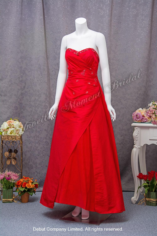 無肩帶 low-cut, 心形胸, 釘珠, A-line紅色晚裝裙 Strapless, A-line evening dress with a beaded sweetheart neckline, and a criss-cross design skirt. Colour: Red
