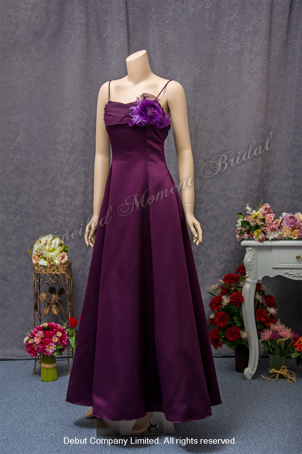 Purple Maid-of-honour A-line Party Dress with flower corsage. 紫色襟花佩配, 紫色伴娘晚裝裙