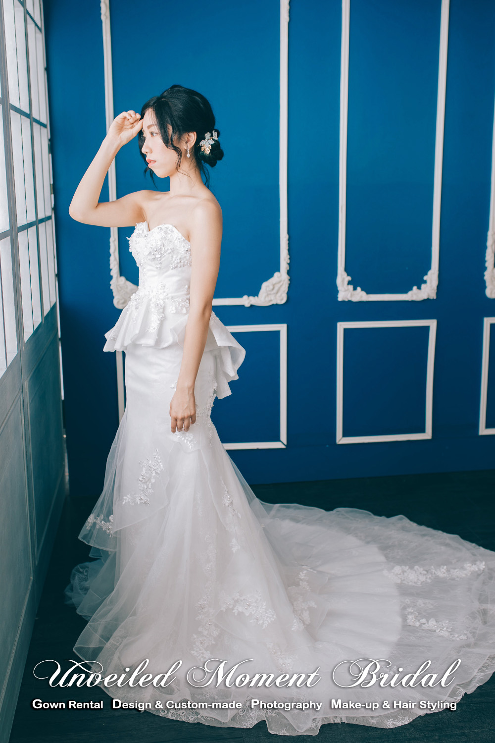 Sweet-heart Neckline, strapless, low-cut, tube dress, beaded bodice, short skirt, sweep train, mermaid Wedding Gown. 心形胸, 無袖, 蕾絲釘珠, 顯瘦短裙, 拖尾, 魚尾婚紗