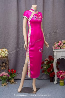 Short sleeves, Peach Mother-of-the-Bride QiPao with peony pattern embroidery 桃紅色繍花媽咪旗袍