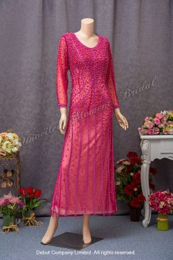Long sleeves, round neckline, beaded embellishments, Mother-of-the-bride Dress. Colour: Fuchsia. 長袖, 圓領, 釘珠, 桃紅色媽咪奶奶晩裝