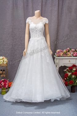 Cap-sleeves, round see-through collar, low-back, embellished lace bodice A-line bridal dress with a brush train 透視圓領, 雞翼袖, 露背, 蕾絲釘珠, A-line拖尾婚紗