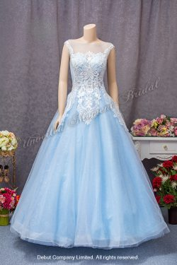 Sleeveless, see-through round neckline, see-through low-back, A-line evening dress with embellished lace appliques and sweep train. Colour: Sky blue 透視圓領, 蕾絲釘珠, 透視美背設計A-line粉藍色晚裝