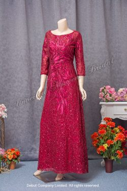 Long sleeves, round neckline, sequins embellishments, Mother-of-the-bride Dress. Colour: Burgundy. 長袖, 圓領, 閃片, 酒紅色媽咪奶奶晩裝
