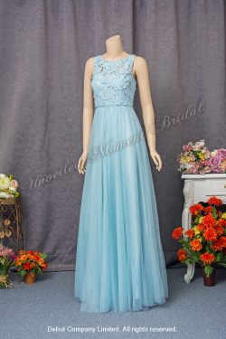 Sleeveless, floor-length Party Dress with lace-up appliques. Colour: Light Blue. 無袖淺藍色宴會晩裝裙