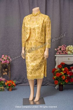Gold QiPao with Outerwear. Size: Extra Large (XXL). 加大碼, 金色, 長袖外套, 媽咪旗袍