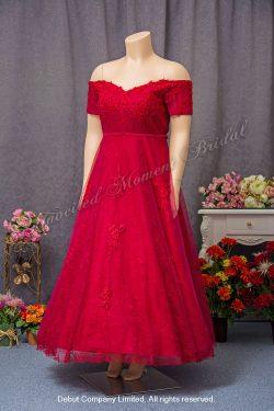 Off-the-shoulder, short sleeved, decorative lace bodice, A-line evening dress. Size: Extra Large (XXL). Colour: Burgundy 一字膊, 短袖, 蕾絲釘珠, 加大碼A-line酒紅色晩裝