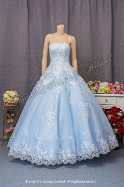 Strapless, low-cut Evening Dress with lace embellishments and floor length. Colour: Light Blue. 淺藍色, 無袖平領, 釘珠蕾絲, 齊地蕾絲花邉裙擺晚裝
