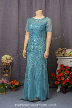 See-through short Sleeves, Round Neckline, Embellished with sequins, Mother-of-bride Evening Dress. Size: Extra Large (XXL). Colour: Greenish Blue. 加大碼, 透視短袖, 圓領, 亮片, 綠藍色媽咪奶奶宴會晩裝