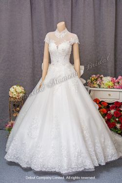 Cap-sleeves, High collar wedding gown with an embellished lace bodice and lace decorated chapel train. 雞翼袖, 企領, 蕾絲釘珠, 蕾絲花邉長拖尾婚紗