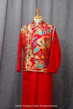 Chinese Bridegroom Suit 金龍金邉背心紅色中式新郎馬褂