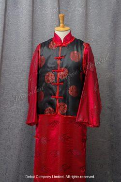 紅色祥雲圖案配黑色上衣中式新郎馬褂 Chinese Bridegroom Suit