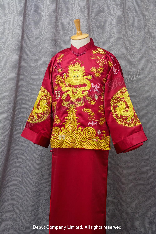 金龍金袖深紅色中式新郎馬褂 Chinese Bridegroom Suit