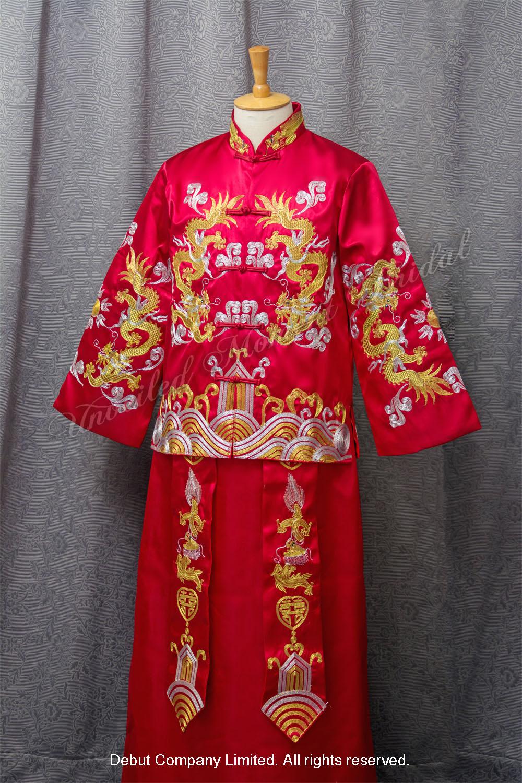 金龍大紅色中式新郎馬褂 Chinese Bridegroom Suit
