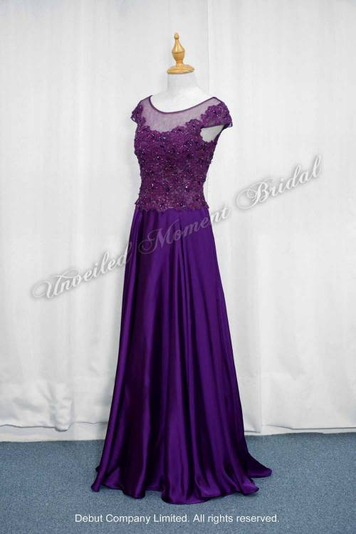 Purple Mother-of-Bride Dress with lace embellishment 紫色, 蕾絲釘珠, 媽咪晚裝裙